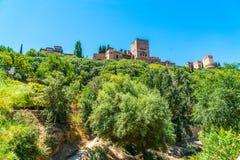 看从镇的阿尔罕布拉宫 库存照片