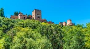 看从镇的阿尔罕布拉宫 免版税图库摄影