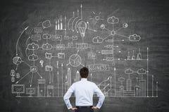 看企业计划的一个人的背面图 免版税库存图片