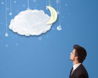 看动画片与月亮的商人夜云彩 免版税库存照片