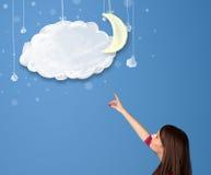 看动画片与月亮的女孩夜云彩 库存图片