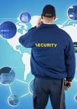 看各种各样的标志的治安警卫背面图反对世界地图 库存照片