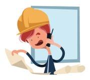 看图纸例证漫画人物的建筑工人 免版税图库摄影