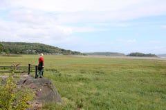 看在从农庄在沙子的莫克姆湾 免版税库存照片