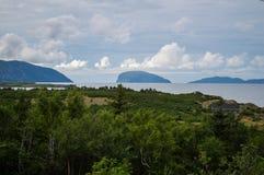 """看在接近Humber的森林海岛â€上""""坚固性海岸线在纽芬兰武装南部 库存图片"""