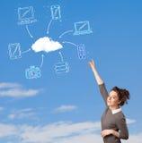 看在蓝天的偶然女孩云彩计算的概念 免版税库存照片