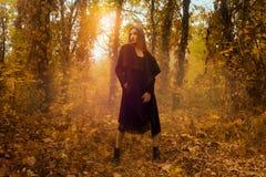 看在金黄秋天森林的黑外套的年轻白肤金发的女孩 库存照片