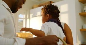 看在食品杂货袋的年轻黑家庭侧视图在舒适的家4k厨房里  影视素材