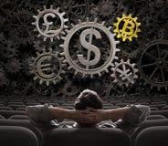 看在货币的贸易商或投资者适应包括bitcoin 3d例证 免版税库存照片