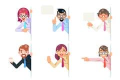 看壁角字符的被隔绝的办公室工作者动画片支持帮助企业咨询忠告设置了平的设计 皇族释放例证