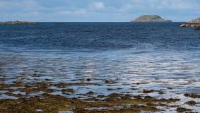 看对海在Lochinver附近,苏格兰的西北海岸的苏格兰高地的全景 免版税图库摄影