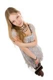 看对照相机的美丽的女孩 图库摄影