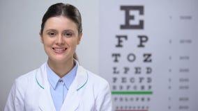 看对照相机,在背景,行业的eyechart的直率的夫人眼医 股票录像