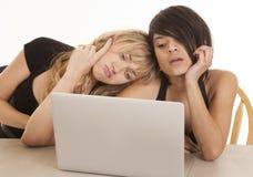 看屏幕的两名妇女 免版税库存图片