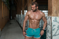 看强壮男子的人的年轻人旅馆室内游泳池 免版税库存图片