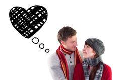 看彼此的微笑的夫妇的综合图象 免版税图库摄影