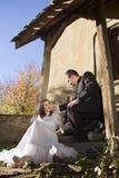 新娘和新郎挥动 库存照片