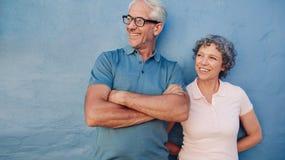 看微笑的成熟的夫妇一起站立和  免版税图库摄影