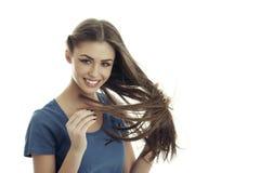 看我的头发!长期,健康和柔滑! 免版税图库摄影