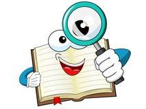 看放大镜的吉祥人开放书被隔绝 向量例证