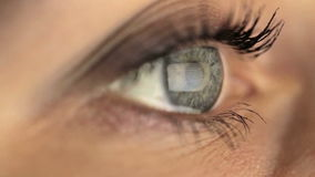 看显示器的妇女女孩宏观眼睛,冲浪 股票视频