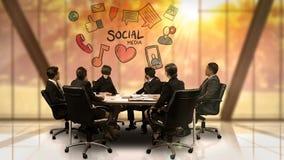 看未来派屏幕的买卖人显示社会媒介标志 向量例证