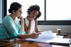 看本文的女性图表设计师 免版税库存图片