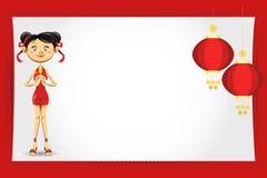 看板卡中国女孩招呼的新年度 免版税库存图片