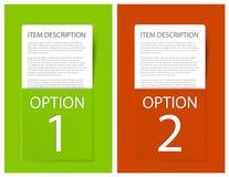 看板卡五颜六色的选项范例集合向量 图库摄影