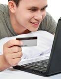 看板卡信用调查员在线采购使用 免版税库存照片