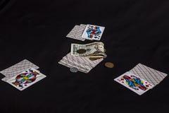 看板卡冲洗打皇家的扑克 图库摄影