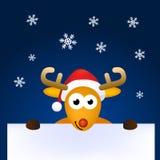 看板卡动画片鹿勒住圣诞老人 库存图片