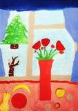看板卡圣诞节图画树胶水彩画颜料 免版税库存图片