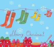 看板卡圣诞节袜子 皇族释放例证