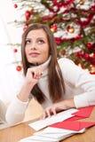 看板卡圣诞节认为的妇女文字年轻人 免版税库存图片