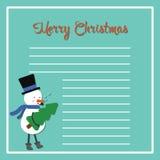 看板卡圣诞节设计愉快的雪人向量 逗人喜爱的结构树 免版税库存图片