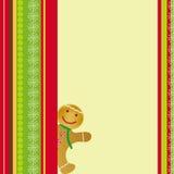 看板卡圣诞节逗人喜爱的姜饼 免版税库存照片