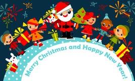 看板卡圣诞节问候孩子 免版税库存照片
