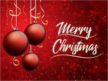看板卡圣诞节问候 圣诞快乐字法,传染媒介例证 免版税库存照片