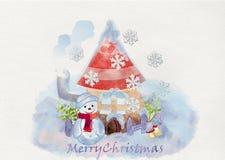 看板卡圣诞节问候 额嘴装饰飞行例证图象其纸部分燕子水彩 免版税图库摄影