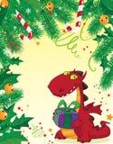 看板卡圣诞节龙红色 库存例证