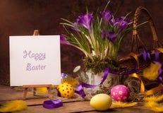 看板卡复活节招呼的愉快的葡萄酒 库存图片