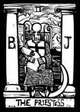 看板卡女教士tarot 免版税库存图片
