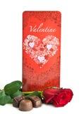 看板卡巧克力玫瑰色华伦泰 免版税库存照片