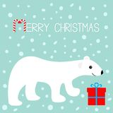 看板卡快活圣诞节的问候 北极北极熊崽 礼物盒礼物 逗人喜爱的动画片婴孩字符 红色giftbox弓 棒棒糖s 免版税库存图片