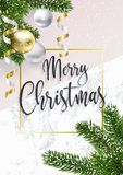 看板卡快活圣诞节的问候 大理石和杉树 皇族释放例证