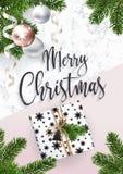 看板卡快活圣诞节的问候 大理石和杉树 库存例证
