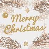 看板卡快活圣诞节的问候 寒假与手拉的杉树的传染媒介背景 免版税库存照片