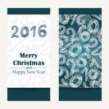 看板卡快活圣诞节的问候 抽象新年快乐2016年背景 手拉的题字 也corel凹道例证向量 免版税库存照片