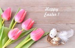 看板卡愉快的复活节 花和复活节巢 免版税库存照片
